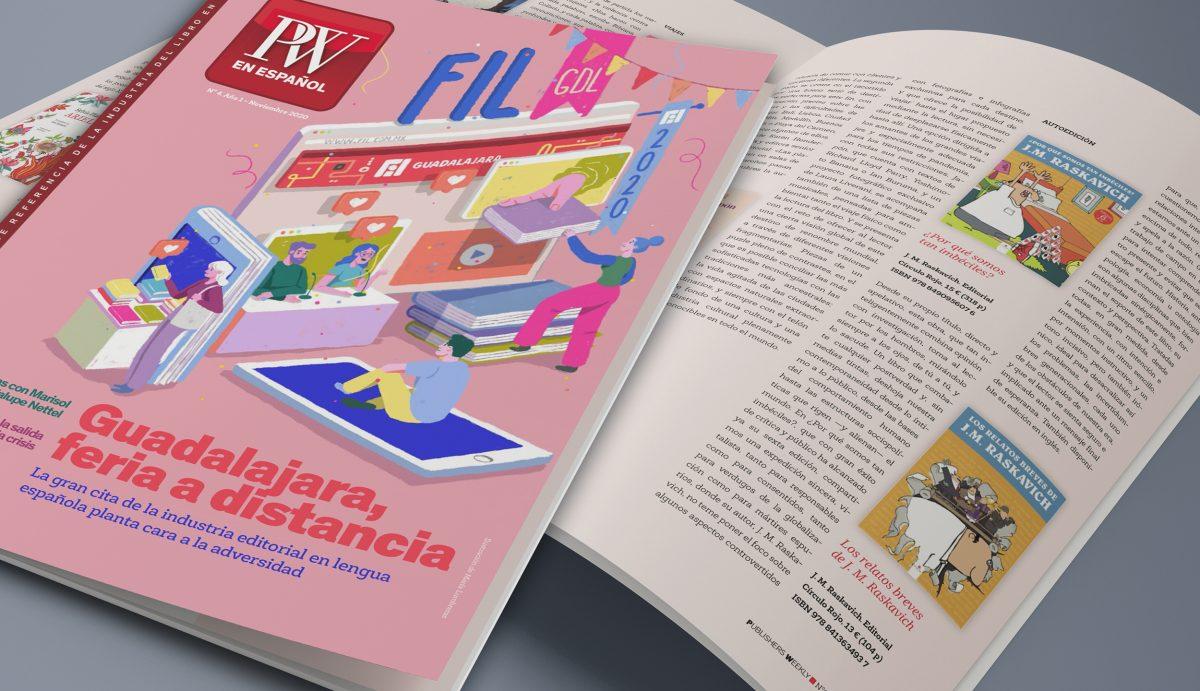 Foto de la Revista Publishers Weekly en Español, donde aparecen las reseñas de los libros de J.M. Raskavich